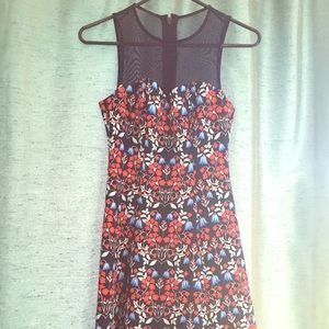 Guess neoprene floral fit and flare dress illusion